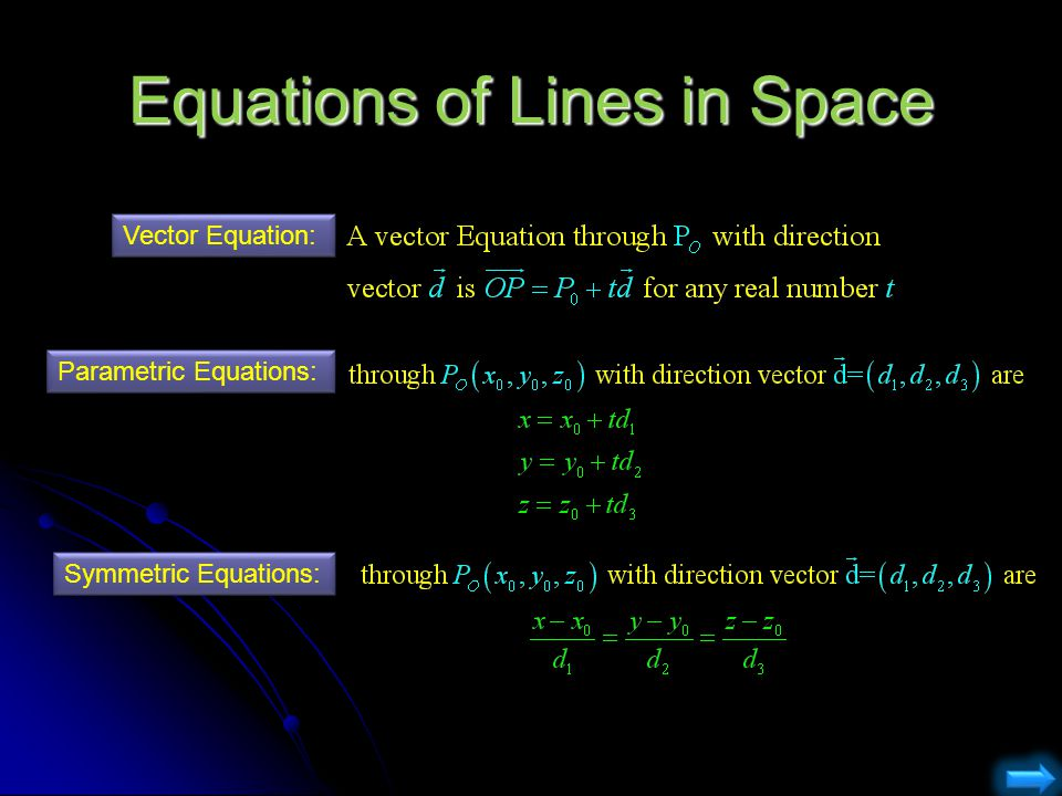 Equations of Lines in Space