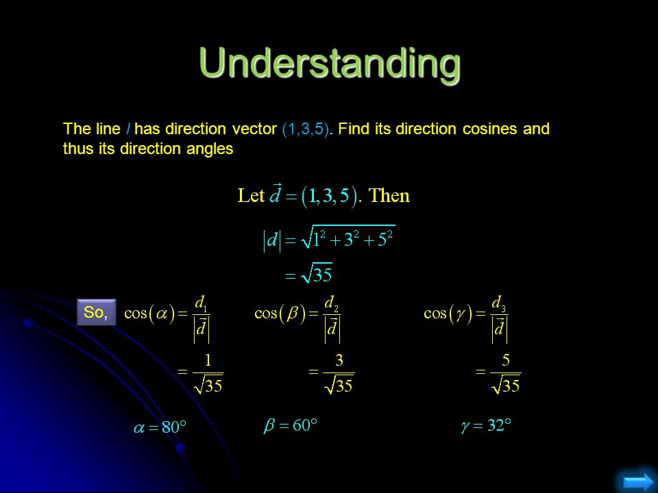 Understanding The line l has direction vector (1,3,5). Find its direction cosines and thus its direction angles.