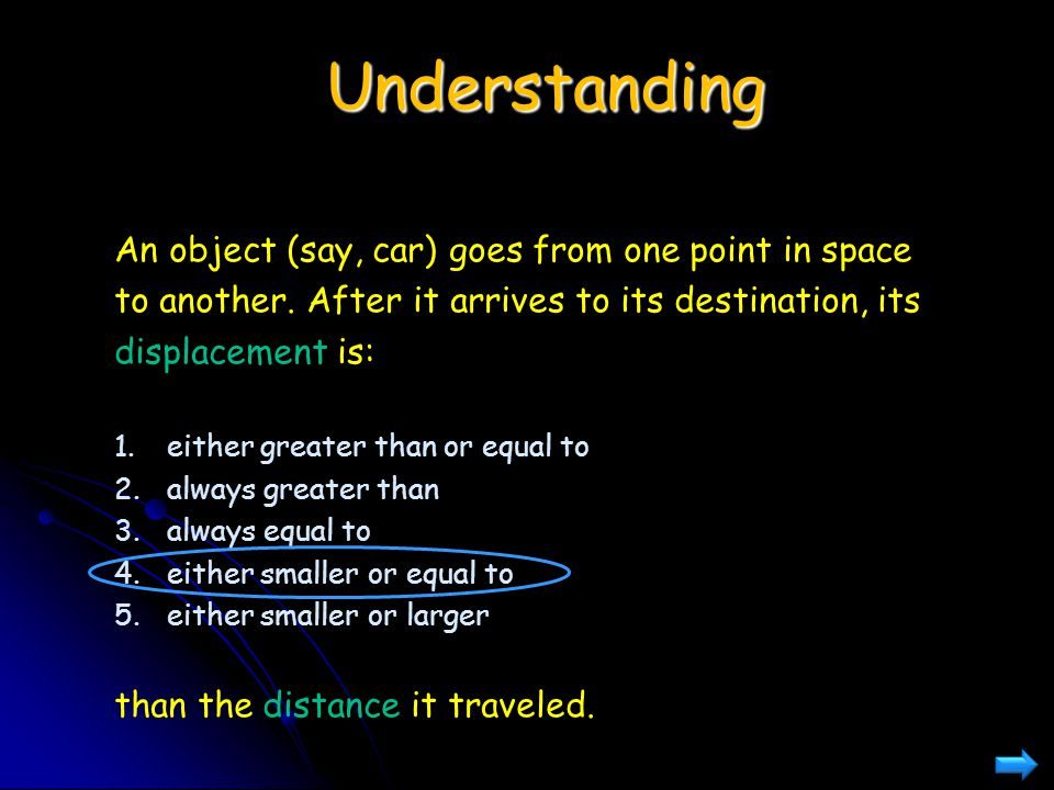 Understanding An object (say, car) goes from one point in space