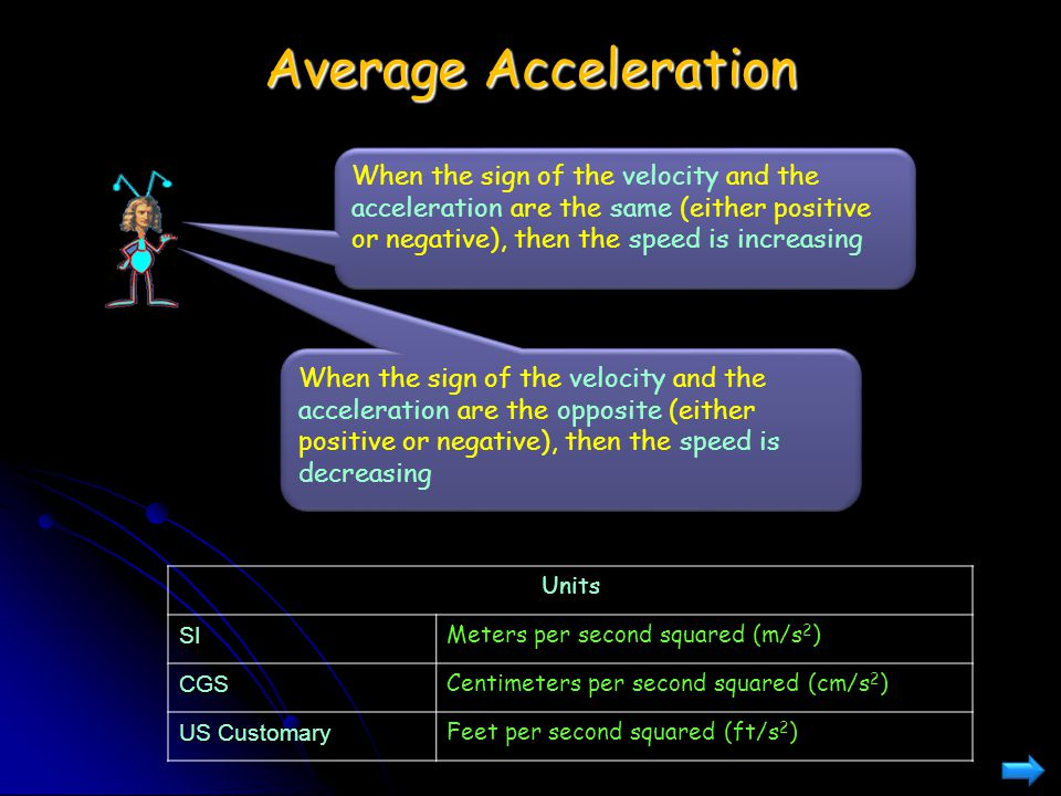 Average Acceleration When the sign of the velocity and the acceleration are the same (either positive or negative), then the speed is increasing.