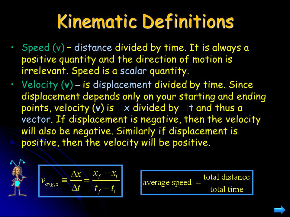 Kinematic Definitions