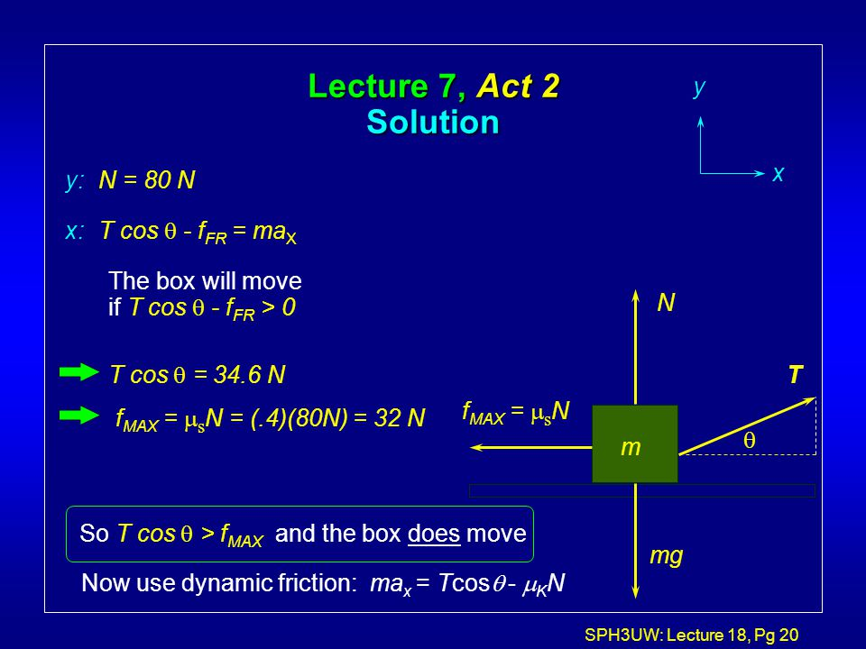 Lecture 7, Act 2 Solution y x y: N = 80 N x: T cos q - fFR = maX
