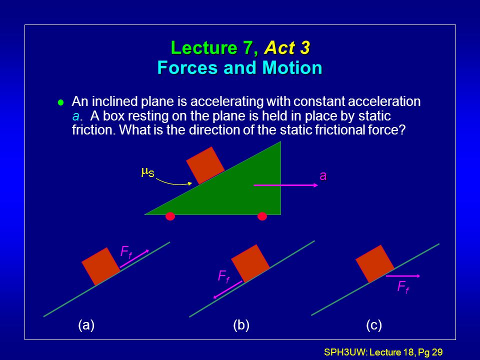 Lecture 7, Act 3 Forces and Motion