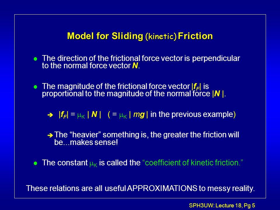 Model for Sliding (kinetic) Friction