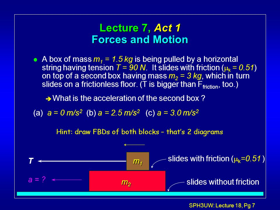 Lecture 7, Act 1 Forces and Motion