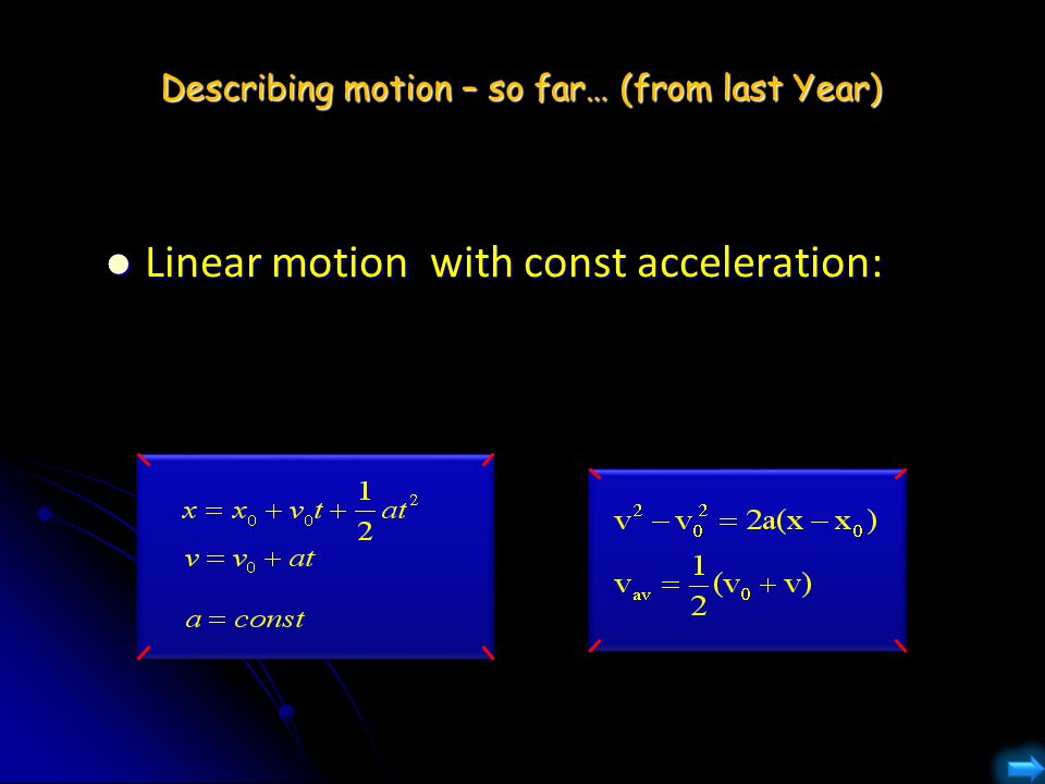 Describing motion – so far… (from last Year)
