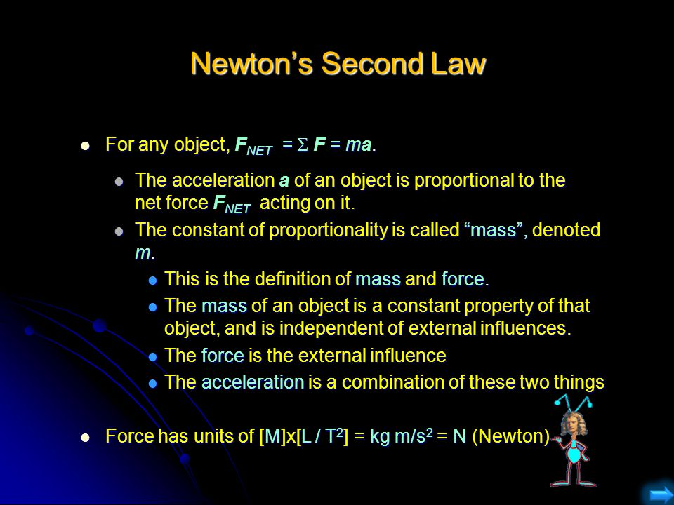 Newton's Second Law For any object, FNET = F = ma.