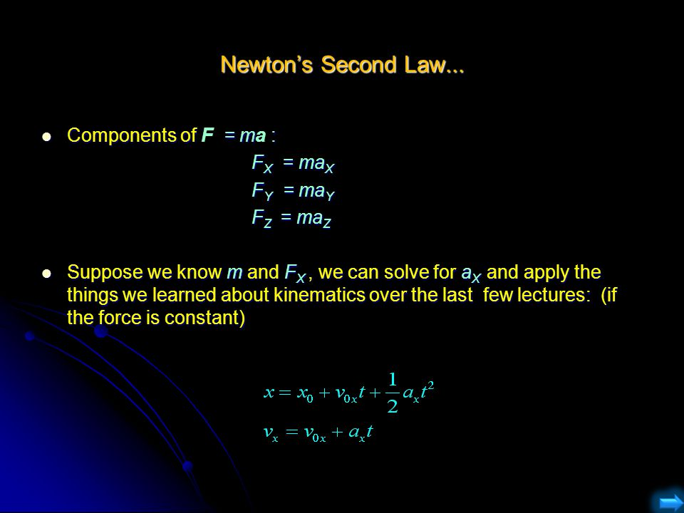 Newton's Second Law... Components of F = ma : FX = maX FY = maY