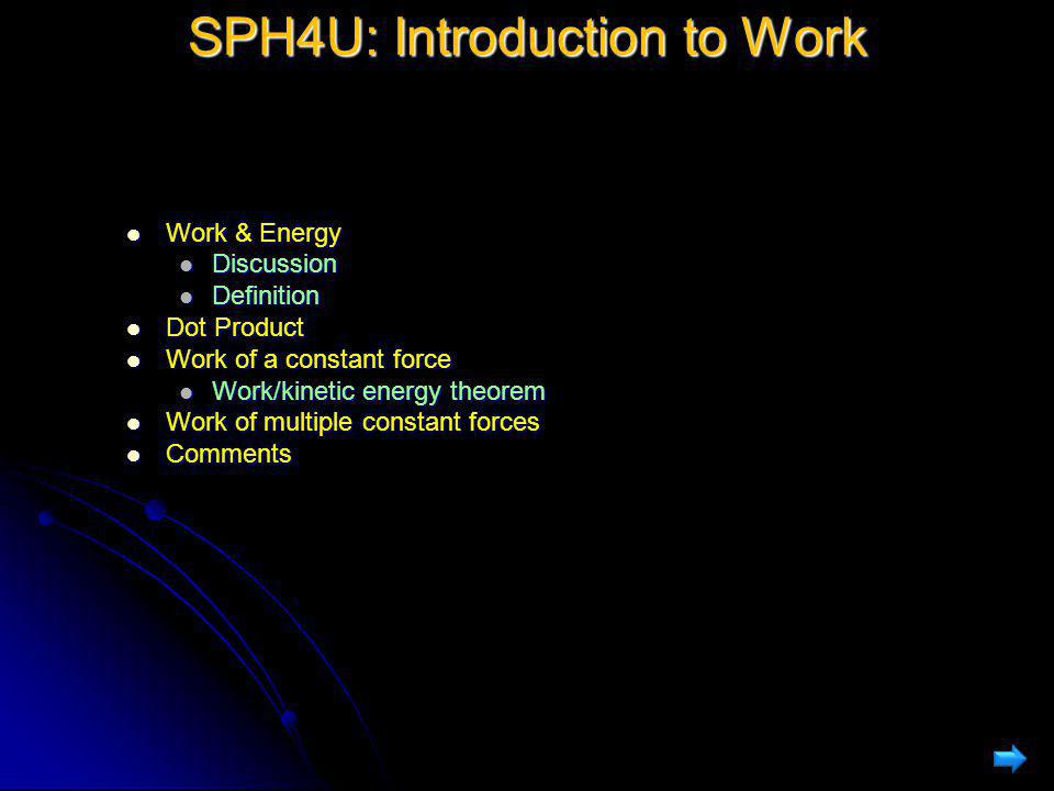 SPH4U: Introduction to Work