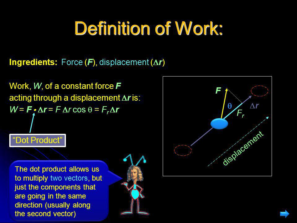 Definition of Work: Ingredients: Force (F), displacement (r)