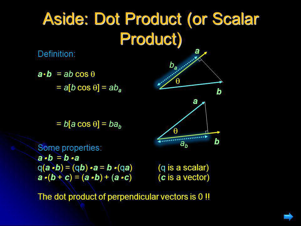Aside: Dot Product (or Scalar Product)