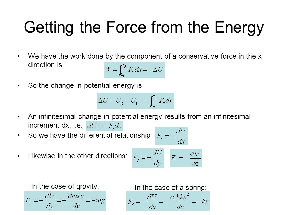 Getting the Force from the Energy