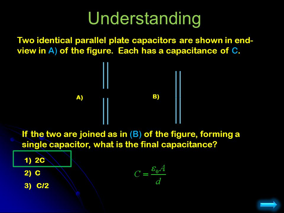Understanding Two identical parallel plate capacitors are shown in end-view in A) of the figure. Each has a capacitance of C.