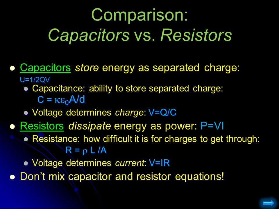 Comparison: Capacitors vs. Resistors