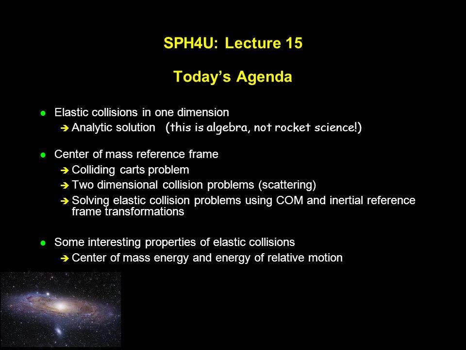 SPH4U: Lecture 15 Today's Agenda