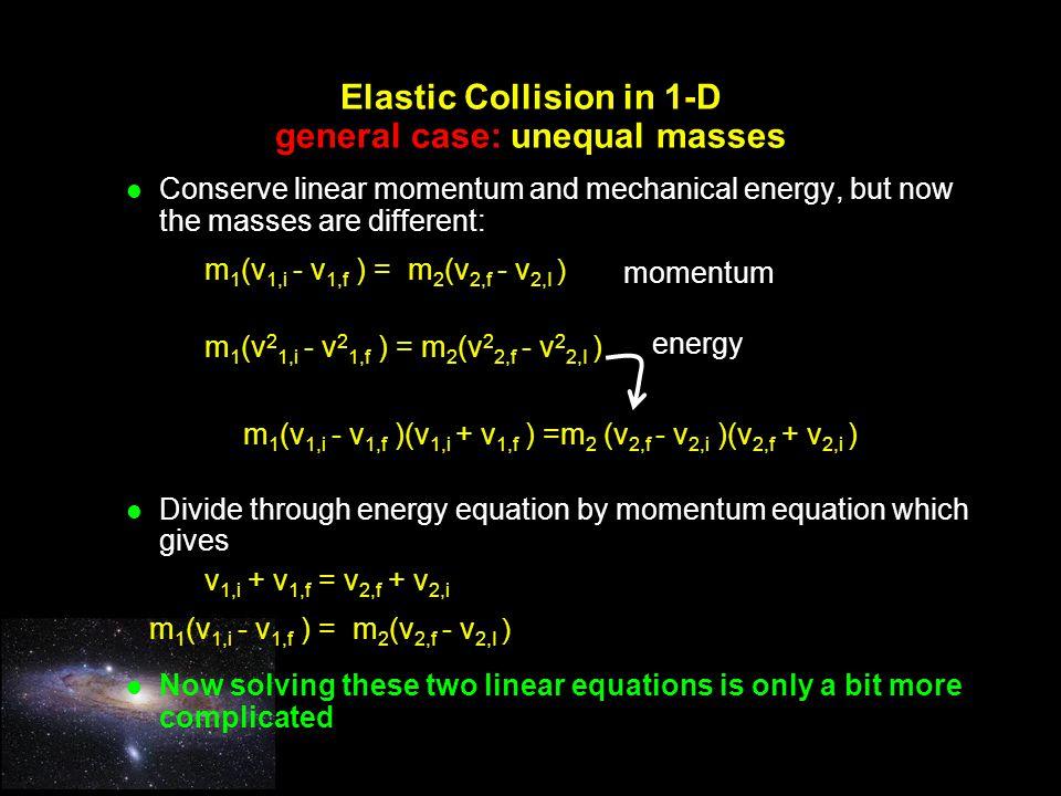 Elastic Collision in 1-D general case: unequal masses
