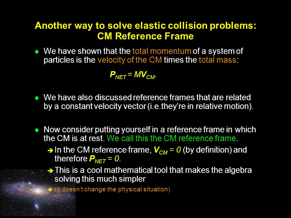 Another way to solve elastic collision problems: CM Reference Frame