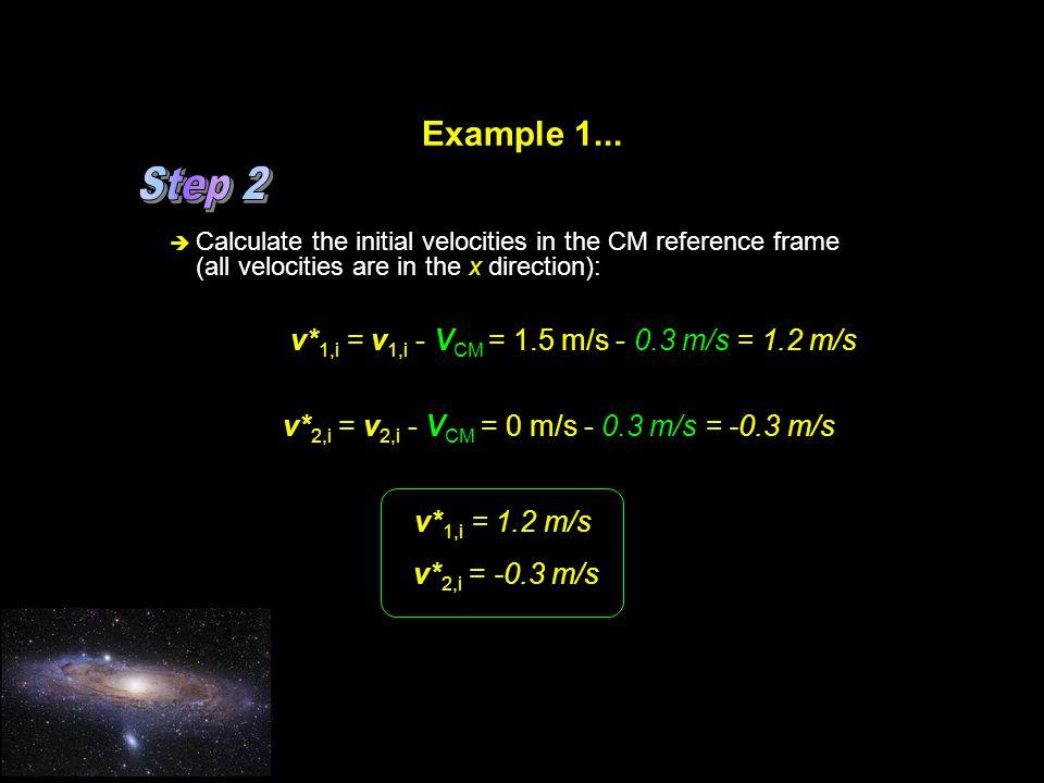 Step 2 Example 1... v*1,i = v1,i - VCM = 1.5 m/s - 0.3 m/s = 1.2 m/s