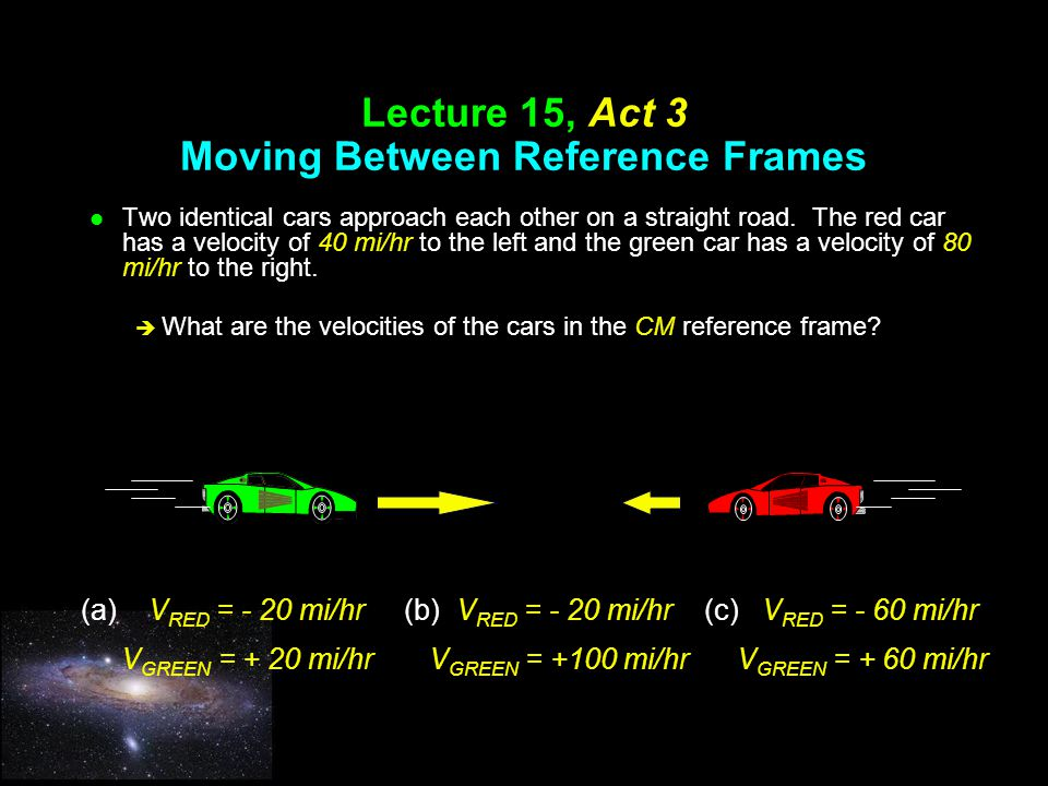 Lecture 15, Act 3 Moving Between Reference Frames