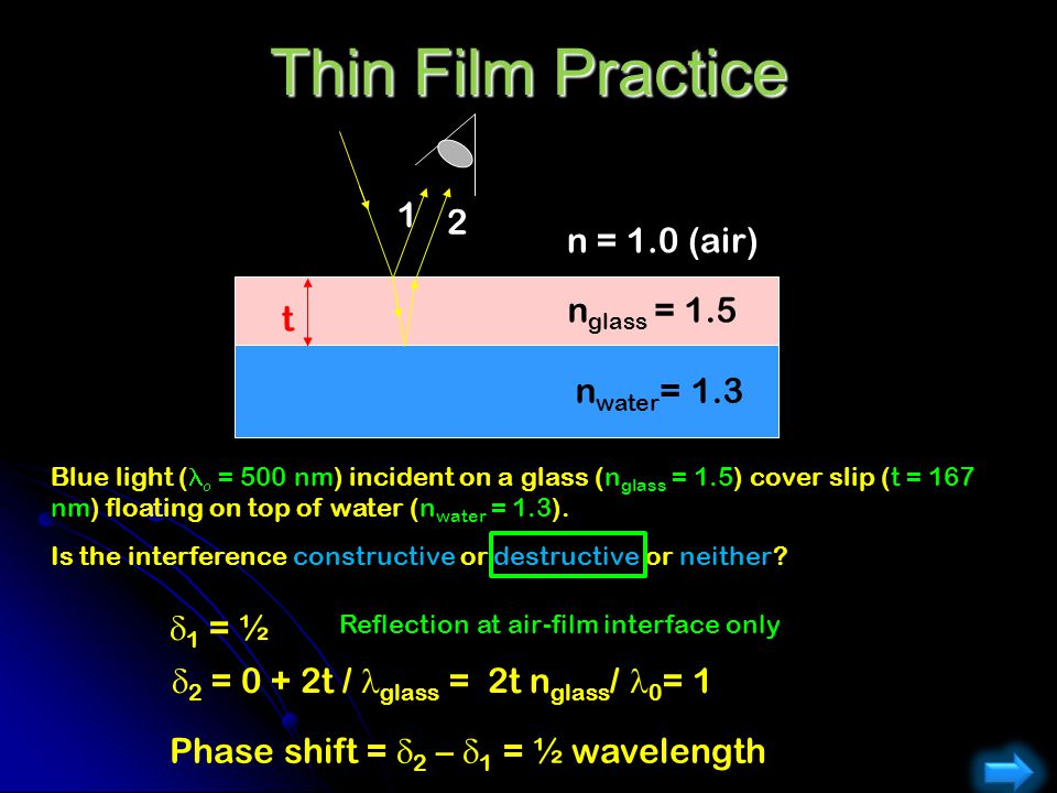 Thin Film Practice 1 2 n = 1.0 (air) nglass = 1.5 t nwater= 1.3 d1 = ½