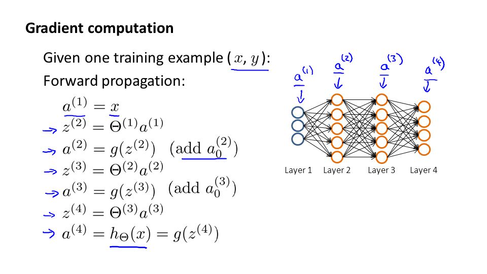 Given one training example ( , ): Forward propagation: