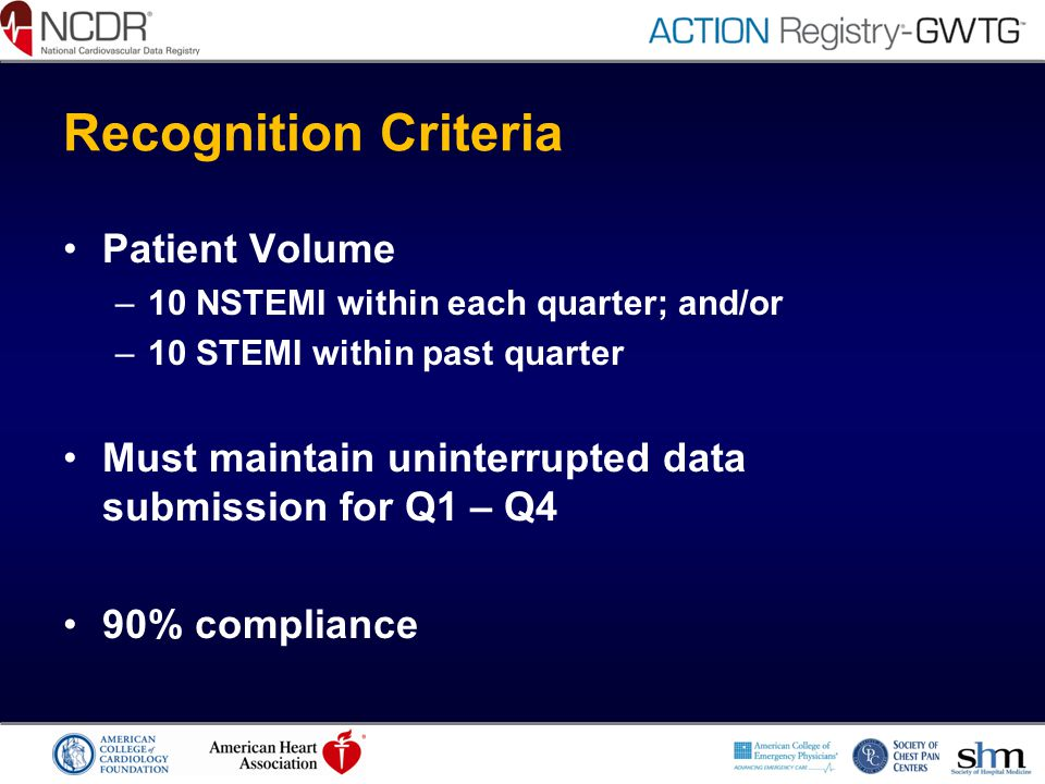 Recognition Criteria Patient Volume