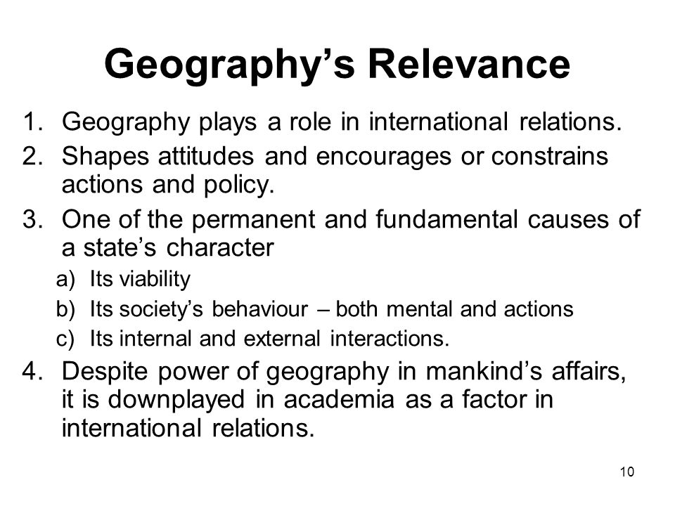 Geography's Relevance