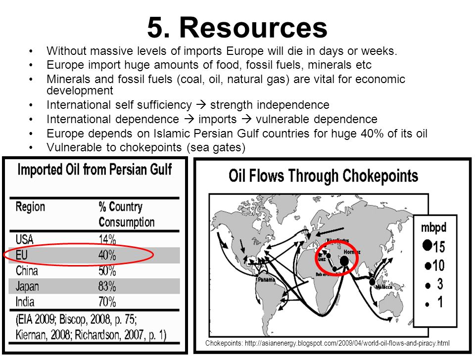 5. Resources Without massive levels of imports Europe will die in days or weeks. Europe import huge amounts of food, fossil fuels, minerals etc.