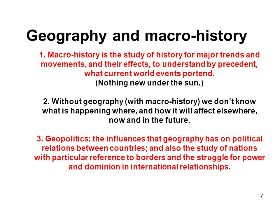 Geography and macro-history 1