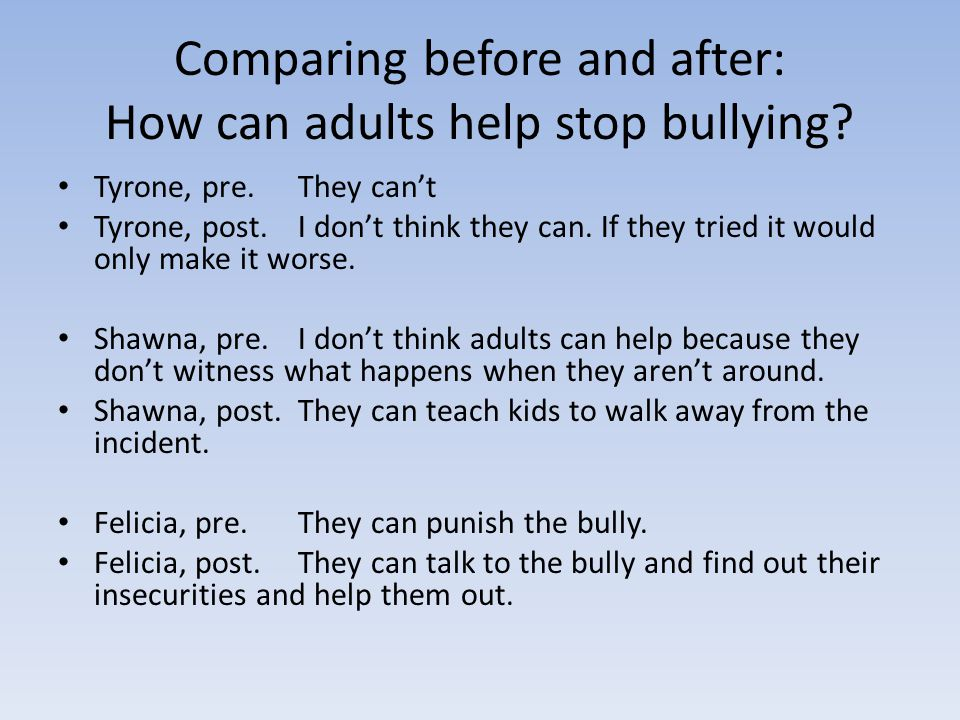 Comparing before and after: How can adults help stop bullying