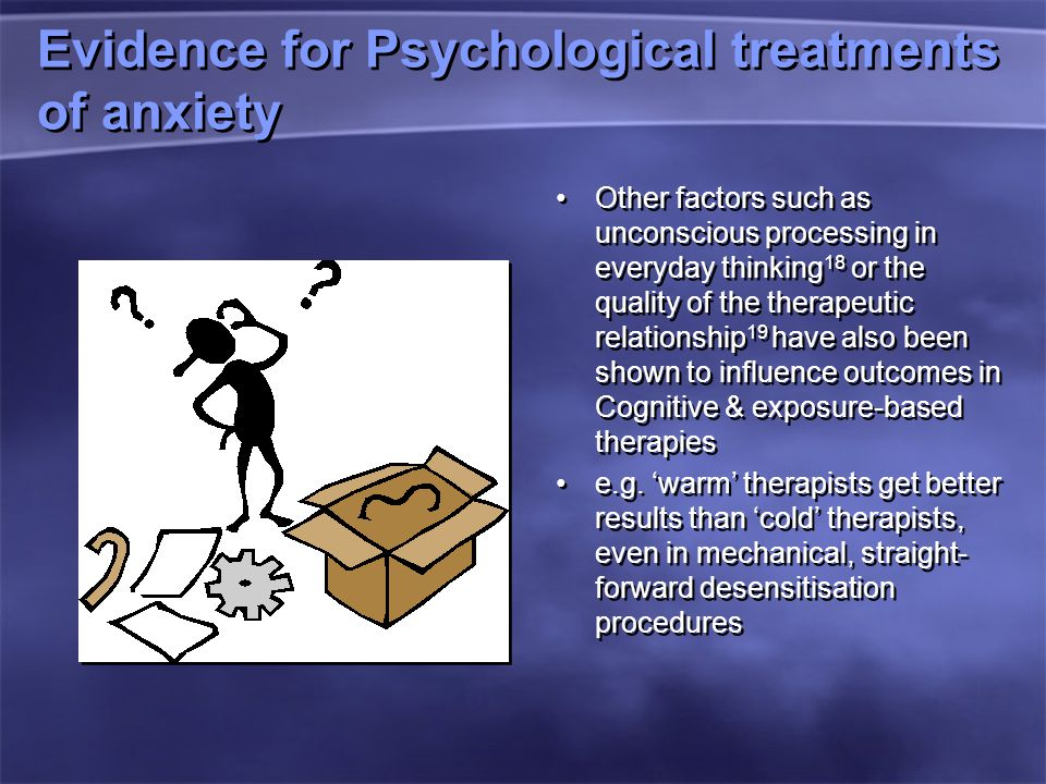Evidence for Psychological treatments of anxiety