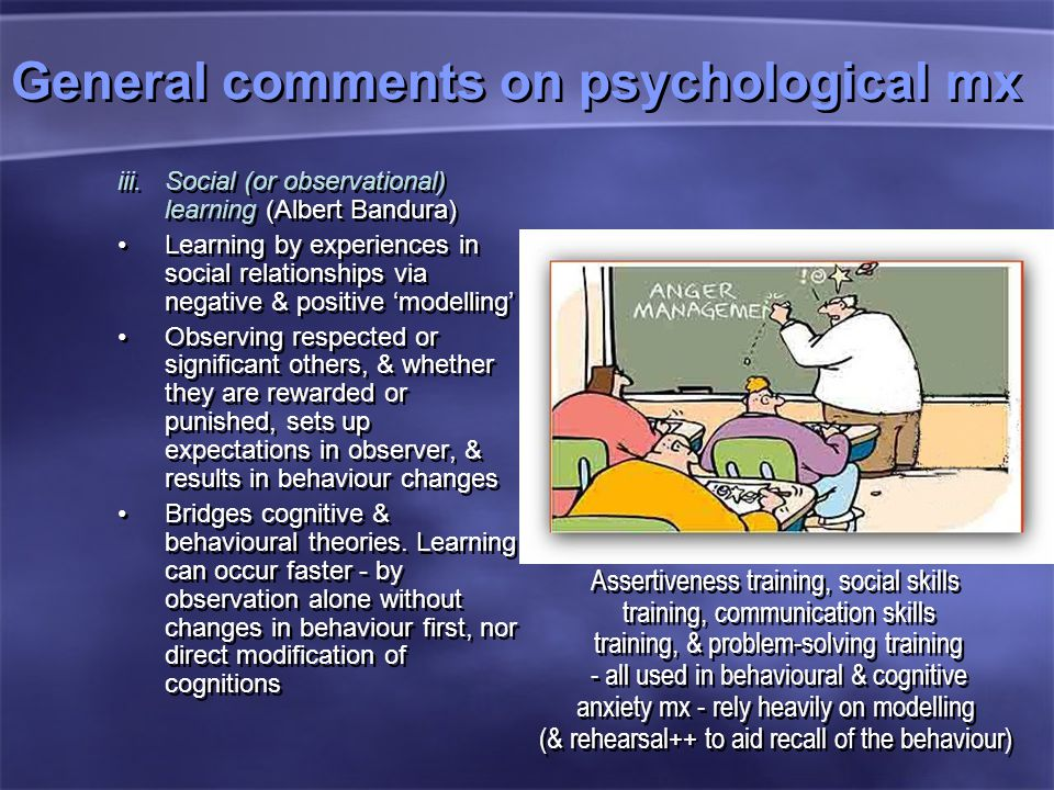 General comments on psychological mx