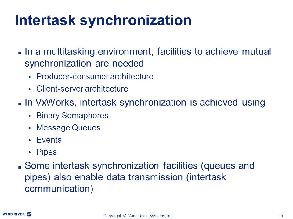 Intertask synchronization