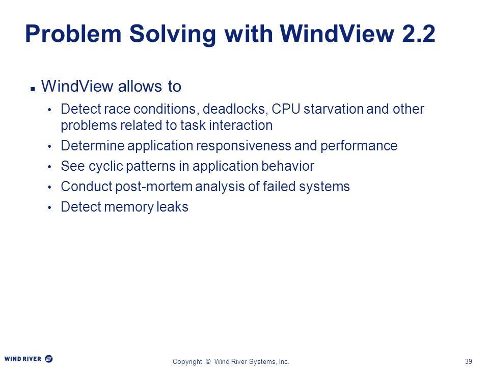Problem Solving with WindView 2.2