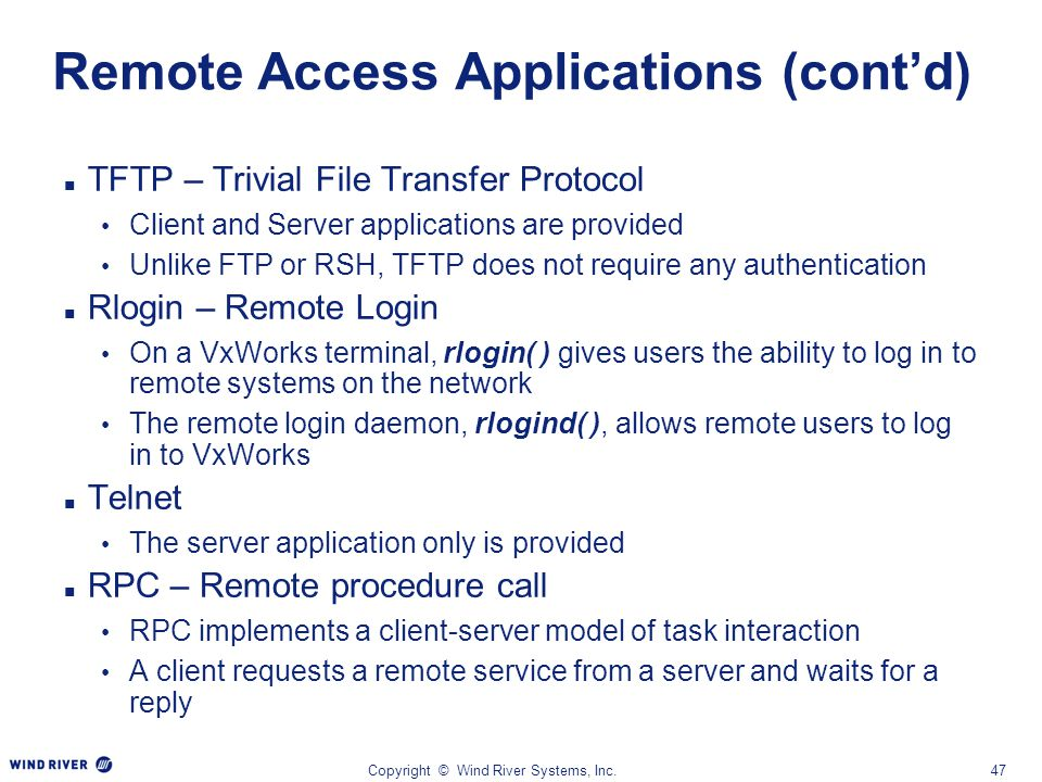 Remote Access Applications (cont'd)