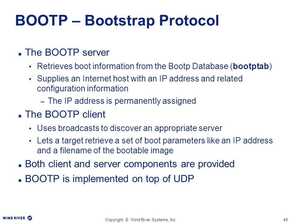 BOOTP – Bootstrap Protocol
