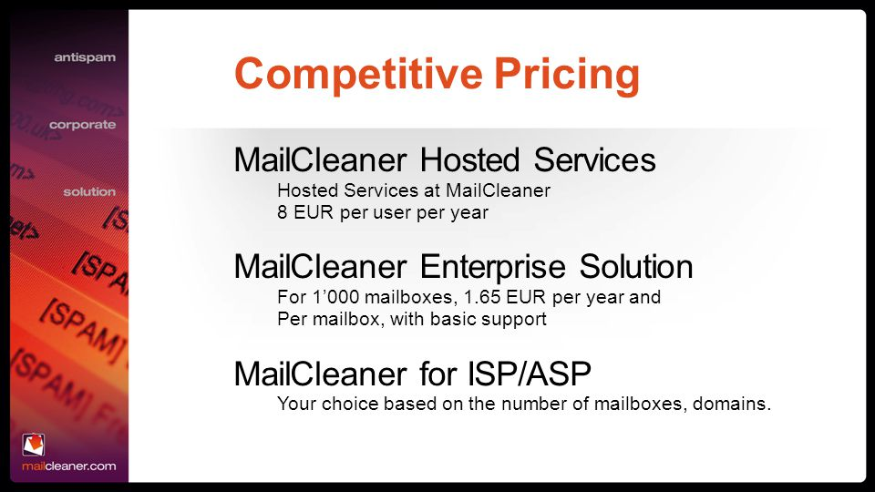 Competitive Pricing MailCleaner Hosted Services