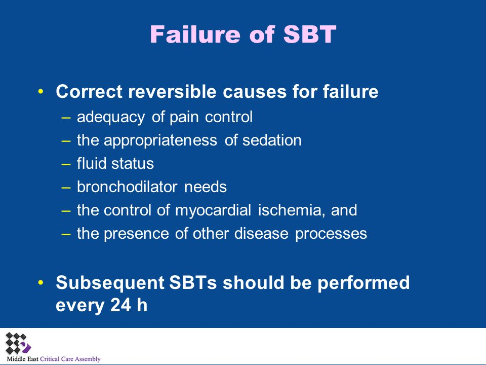 Failure of SBT Correct reversible causes for failure