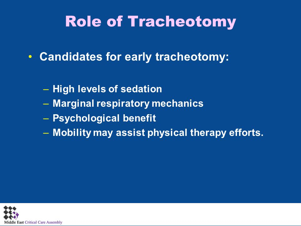 Role of Tracheotomy Candidates for early tracheotomy: