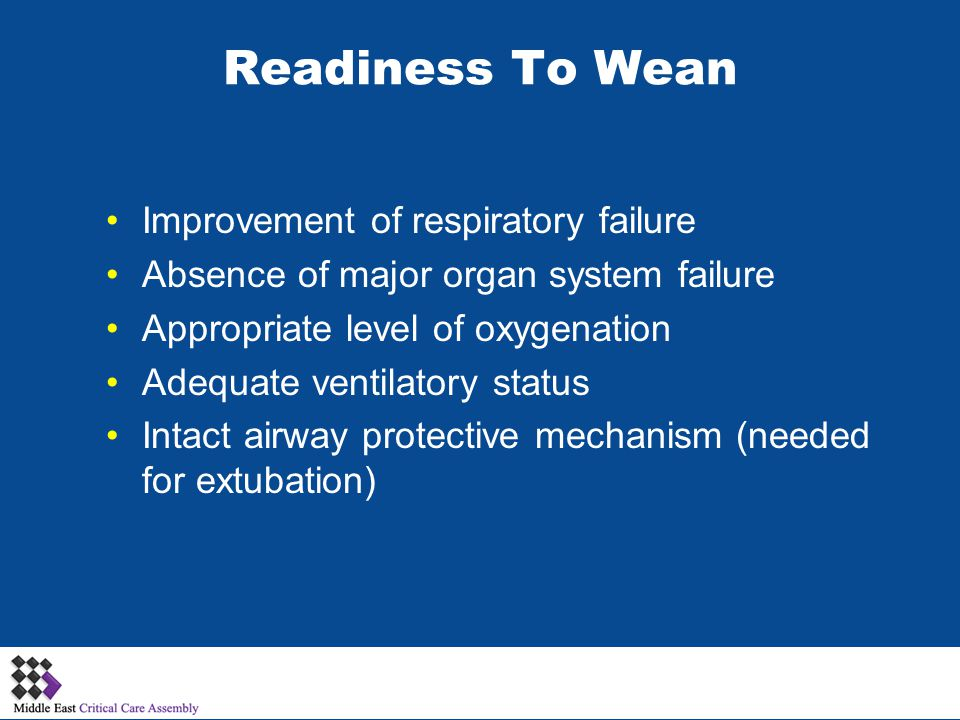Readiness To Wean Improvement of respiratory failure