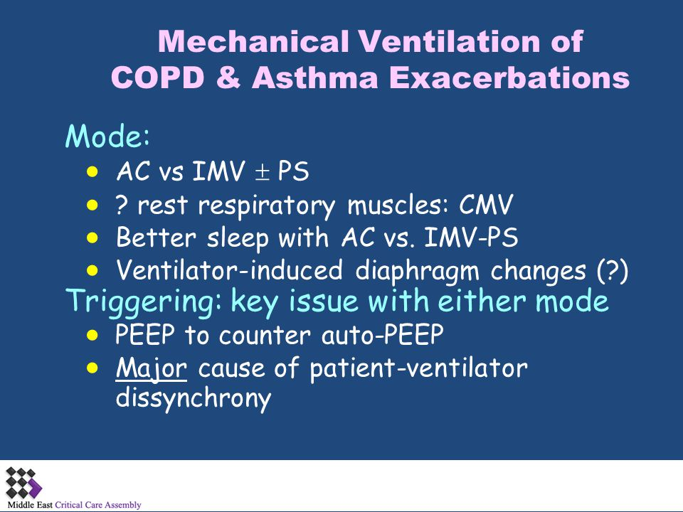 Mechanical Ventilation of COPD & Asthma Exacerbations