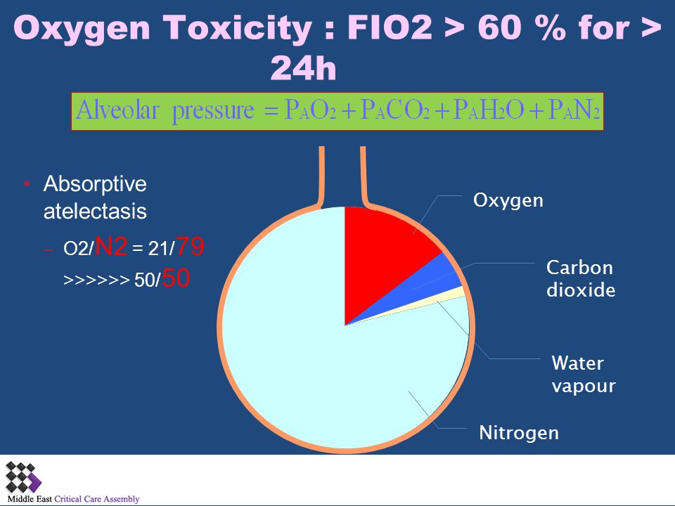 Oxygen Toxicity : FIO2 > 60 % for > 24h
