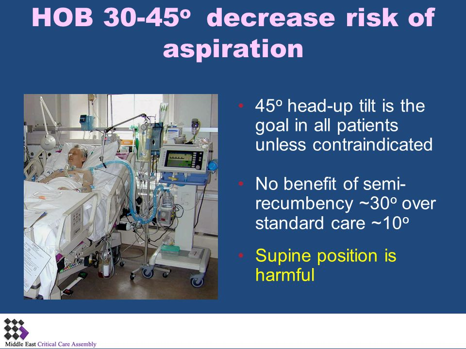 HOB 30-45o decrease risk of aspiration