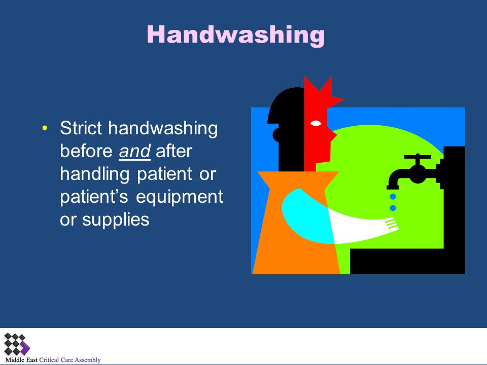 Handwashing Strict handwashing before and after handling patient or patient's equipment or supplies