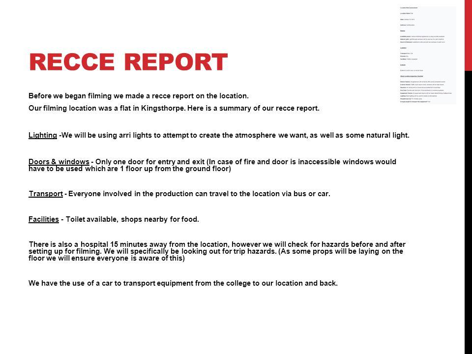 Recce report