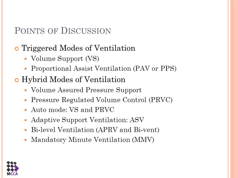 Points of Discussion Triggered Modes of Ventilation