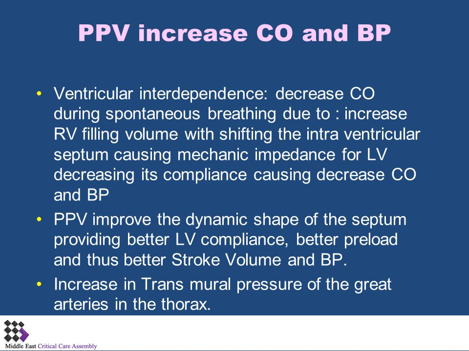 PPV increase CO and BP