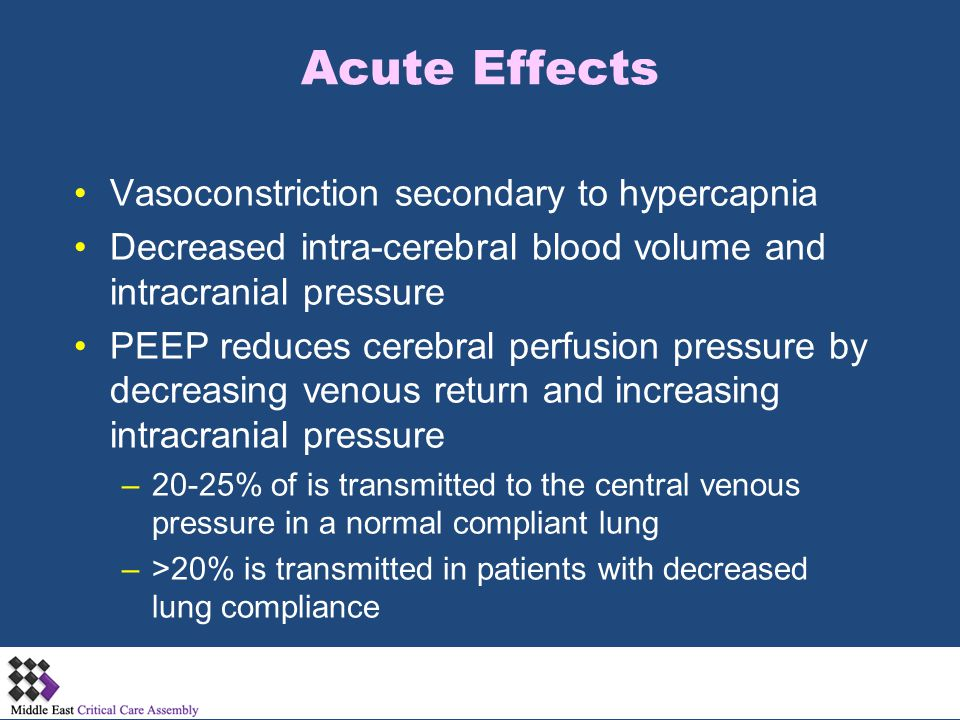 Acute Effects Vasoconstriction secondary to hypercapnia