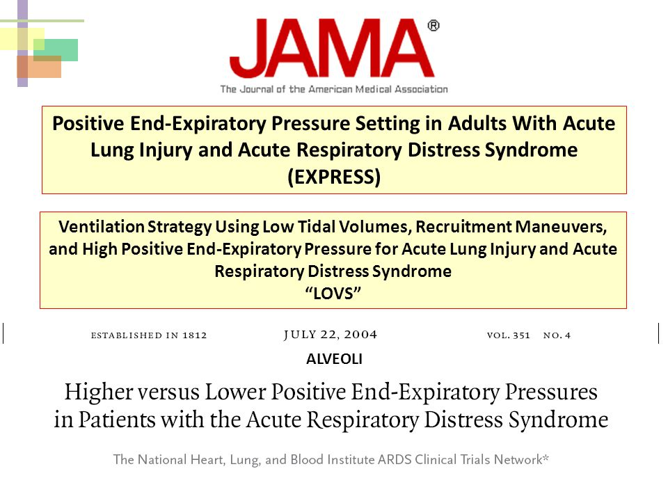 Positive End-Expiratory Pressure Setting in Adults With Acute Lung Injury and Acute Respiratory Distress Syndrome (EXPRESS)