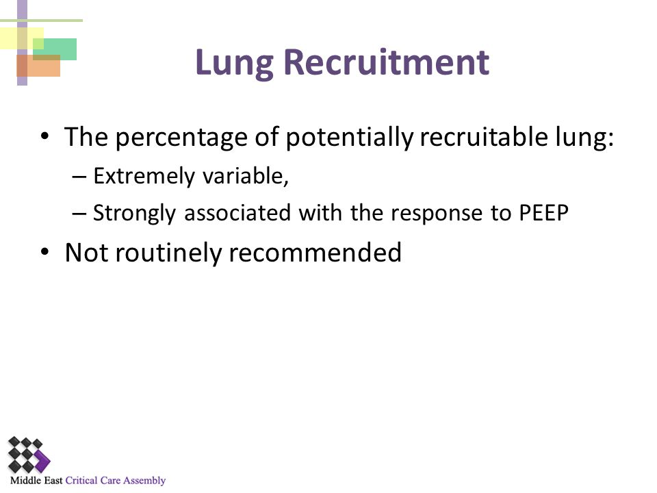 Lung Recruitment The percentage of potentially recruitable lung: